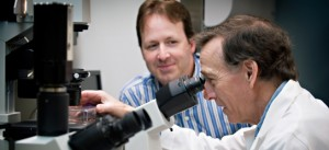 Drs. Stuart Helfand, right, and Bernard Seguin are developing new cancer treatments in the OSU College of Veterinary Medicine. (Photo: Karl Maasdam)