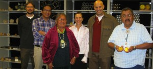 Science and Native culture converged in 2010 when Linda Richards arranged for Navajo elders to visit the Pauling archives at OSU. From left: Chris Peterson, OSU archivist; Oliver Tapaha; Elsie Mae Begay; Linda Richards; Jeff Spitz, filmmaker; Perry H. Charley (Photo courtesy of Linda Richards)