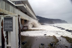 Waves crawl up against the lower level of a structure in Neskowin, Oregon, during a storm in January, 2008. (Photo: Armand Thibault, Neskowin)