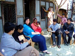 Molly Kile met with residents of Dhaka Community Hospital to discuss her studies of arsenic exposure. She and her team ask what concerns people have and recruit participants in their research. The researchers then report back to the community. (Photo courtesy of Molly Kile)