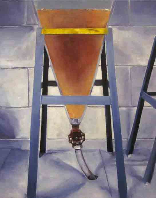Cody's Feed Funnel at the Fish Research Lab, oil on panel, 2014 (Alice Marshall)