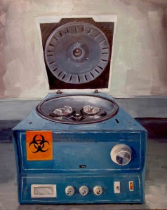 Andrea's Centrifuge at the Oncology Lab, oil on panel, 2014 (Alice Marshall)