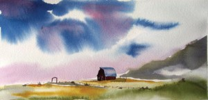 Western landscape with barn (Watercolor by Dominique Bachelet)
