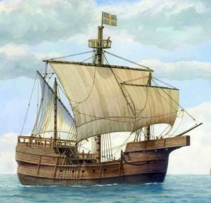 Artist's rending of how the Newport Ship might have appeared under sail. (Image courtesy of Toby Jones)