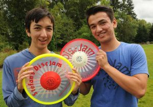 The relationship between Stefan Dassise, left, and his brother Alex shifted when they began using a musical flying disc. (Photo courtesy of Alex Dassise)
