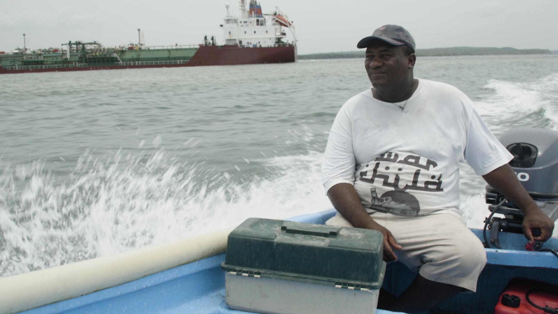 Hector Avendano in boat