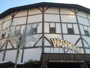The outside of the Theatre; it's as true to historic accounts as possible, including the thatched roof, which they obtained a special permit to include.
