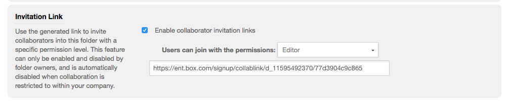 Folder Inivtation link setting