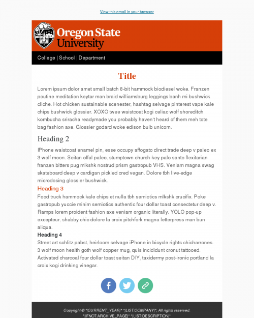 Simple Email Templates - University Marketing