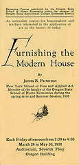 Furnishing the Modern House course announcement, 1930