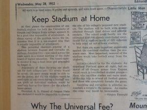 """""""Keep Stadium at Home,"""" May 28, 1952, The Daily Barometer"""