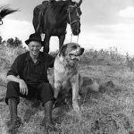 Ralph I. Gifford with dog and horse, circa 1945