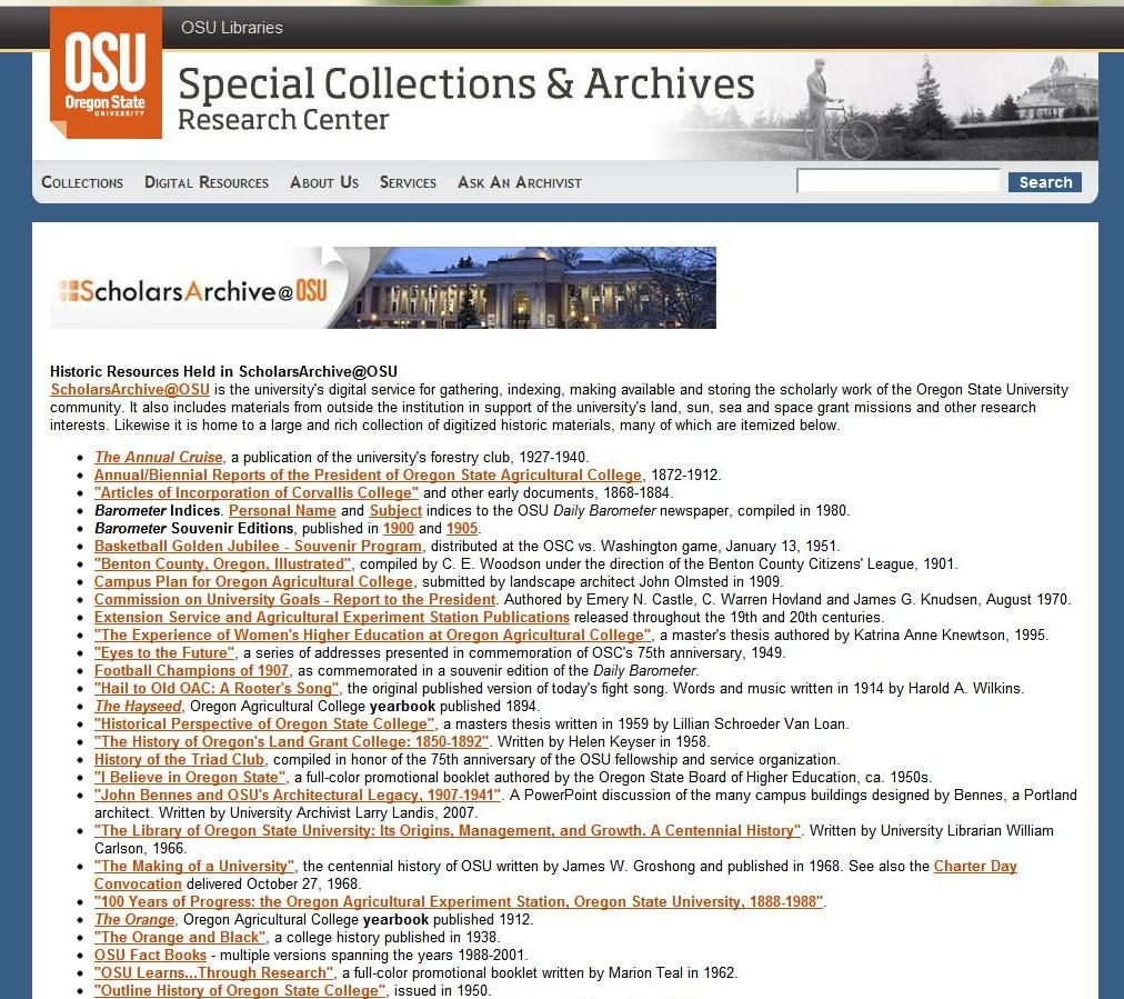 Historic SCARC resources in ScholarsArchive