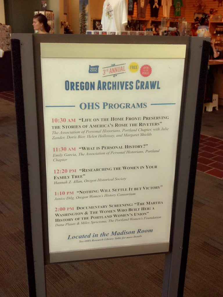 Oregon Archives Crawl 2012