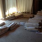 Rolls of prints in Yang's house in NW Corvallis