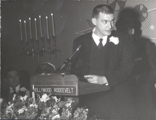 Peter Pauling, speaking at his father's sixtieth birthday party, Los Angeles, 1961.