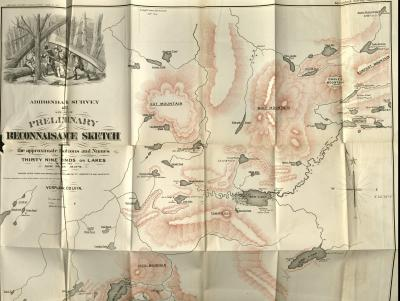 Adirondack Survey 1873 - Specimen of Preliminary Reconnaissance Sketch Showing the Approximate Positions and Names of Thirty Nine Ponds or Lakes Important and New to the Maps (Pl. 11), circa 1870