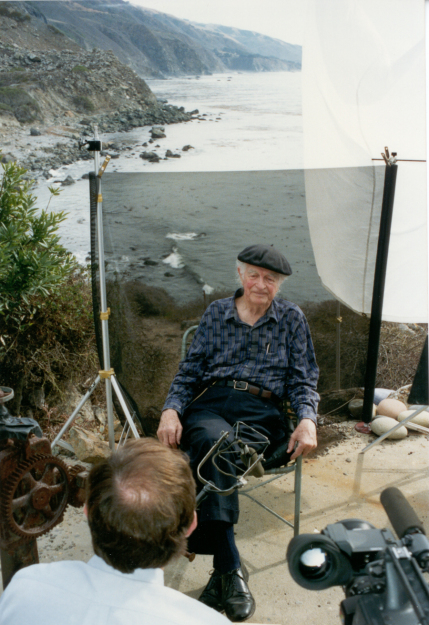 Linus Pauling giving an interview at Deer Flat Ranch, September 1993.