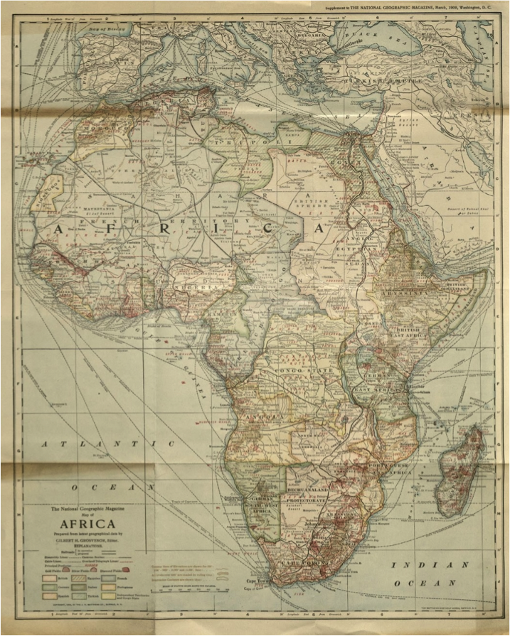 Map of Africa Showing Railway and Telegraphic Lines, Elevations and Latest Geographical Data From: The National Geographic Magazine, (Vol. XX, No. 3), March 1909 Editor: Grosvenor, Gilbert H. Publisher: The Matthews-Northrup Works