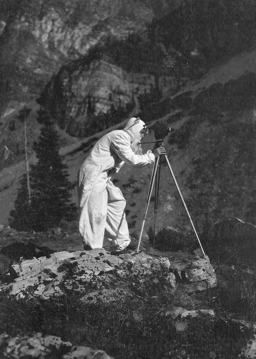 William Finley filming while dressed as a goat. Glacier Park, Montana, 1929.  OHS Research Library, Org. Lot 369, Finley D1021.