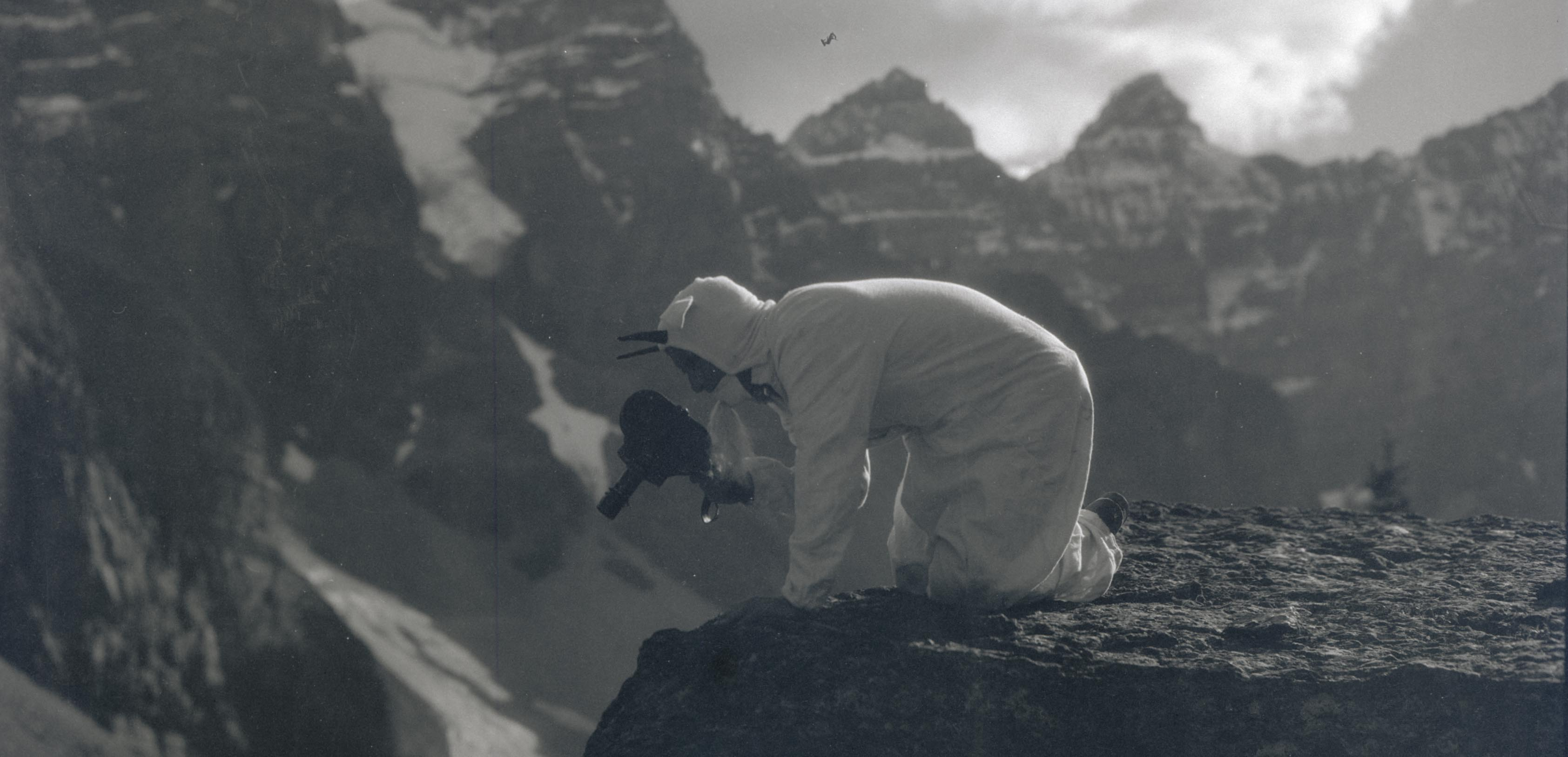 William Finley filming while dressed as a goat. Glacier Park, Montana, 1929.  OHS Research Library, Org. Lot 369, Finley D1024.