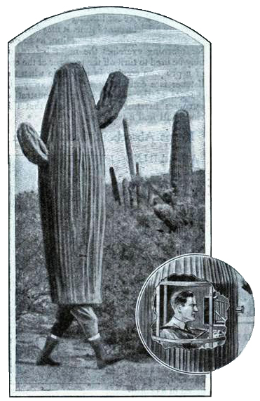 Illustration from Modern Mechanics and Inventions featuring Arthur Pack's cactus disguise.