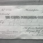 A check for $100 from Ladies Home Journal to Irene Finley, 1909. OHS Research Library, Org. Lot 369, Finley A1195.