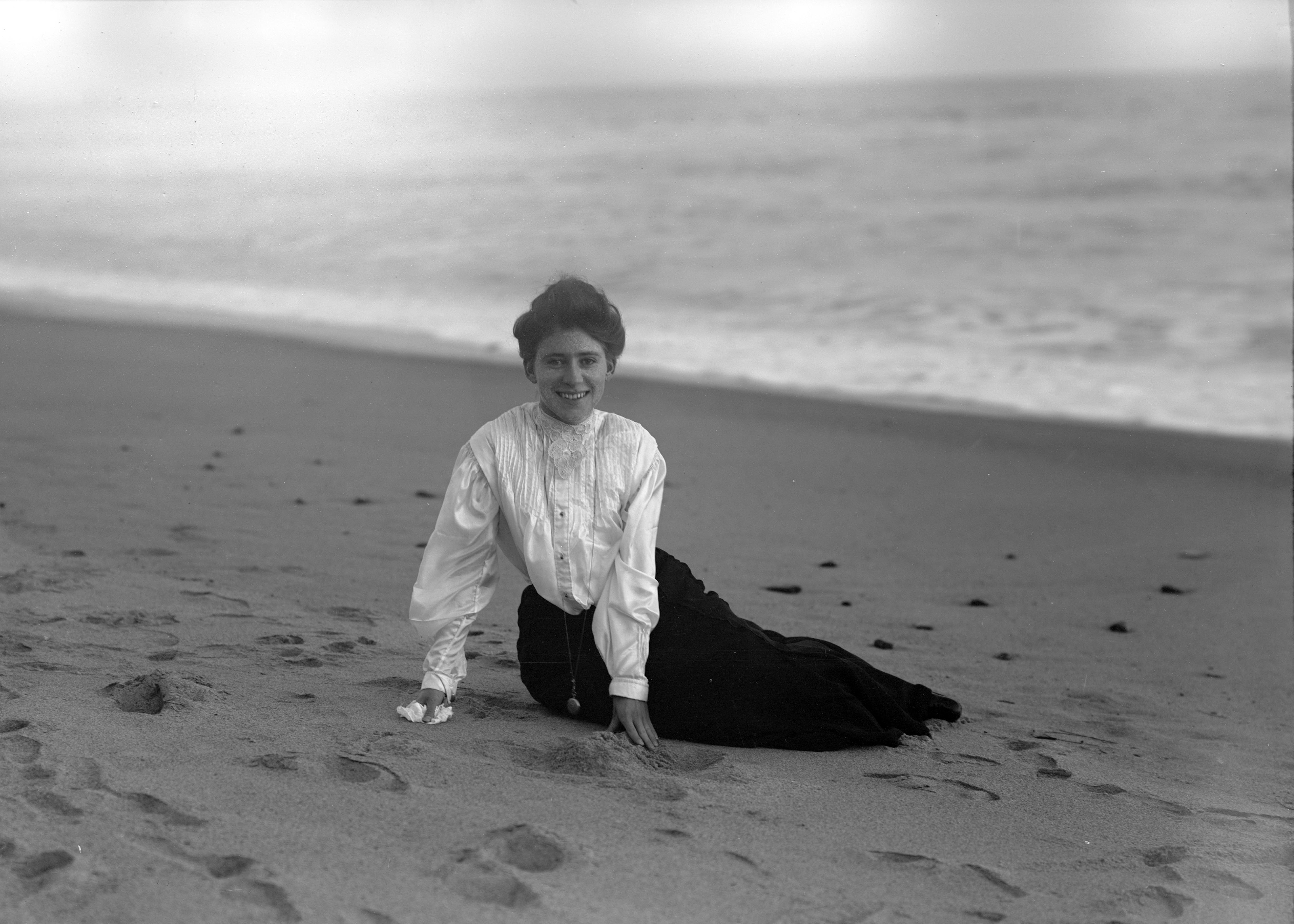 Nellie B. (Irene Finley) on the seashore circa 1905.  OHS Research Library, Org. Lot 369, Finley C0223.