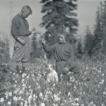 Phoebe and William Finley Jr. with their dog in Rainier Park,1919. OHS Research Library, Org. Lot 369, Finley D0440.