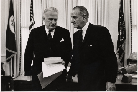 George W. Ball and President Lyndon Johnson, ca. 1965. Image credit: George W. Ball Papers, Princeton University.