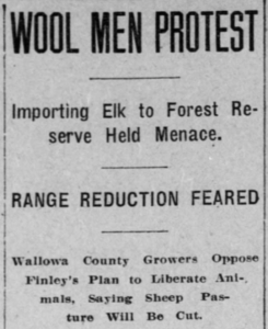 Clipping from the February 12, 1912 Morning Oregonian detailing the concerns from members of the Wallowa County Wool Growers about the planned transplant of elk to the region. Full text of the article available at: ohttp://oregonnews.uoregon.edu/lccn/sn83025138/1912-02-12/ed-1/seq-7/