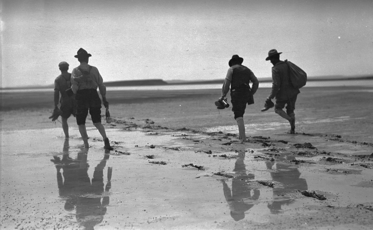 Dallas Lore Sharp and four unidentified Malheur Audubon wardens wading in the mud along the edge of Silver Lake, Oregon, 1912. OHS Research Library, Org. Lot 369, Finley B0177.