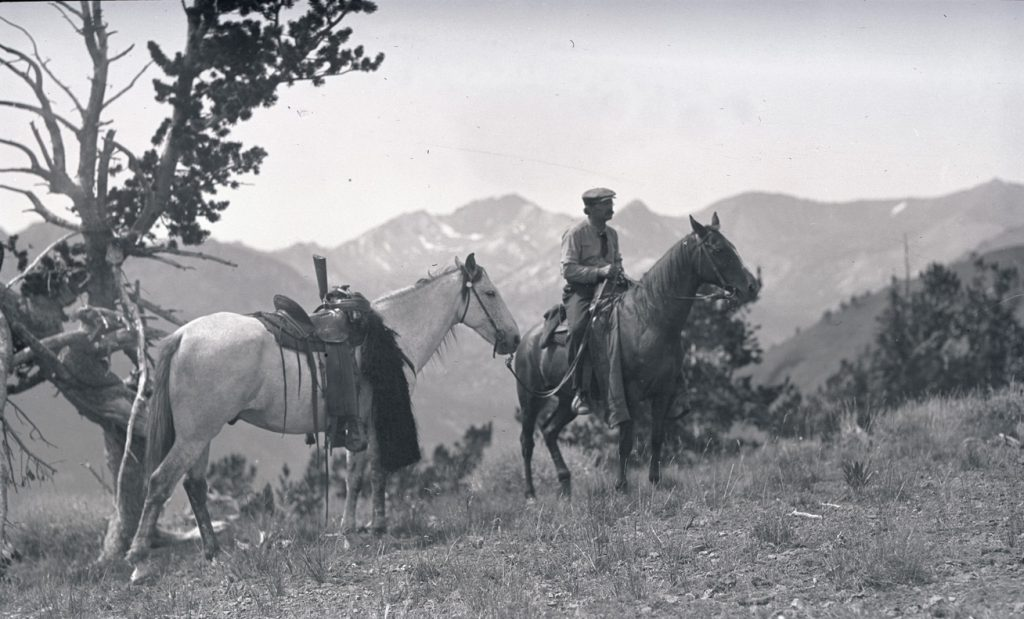 Dallas Lore Sharp on horseback in the Wallowa Mountains, Oregon, 1912. OHS Research Library, Org. Lot 369, Finley B0610.