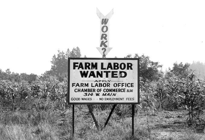 A farm labor sign at one of the highway entrances to Medford, Oregon, was asking for farm laborers.