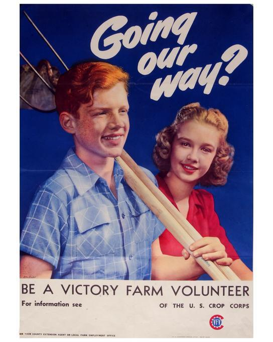 Victory Farm Volunteers were made up of youth 11 to 17 years of age and was one of the largest groups in the Emergency Farm Labor Service work force. 26 X 18.5 inch poster seeking volunteers for the Victory Farm Volunteer program of the U.S. Crop Corps. Poster was printed by the U.S. Government printing office in 1945.