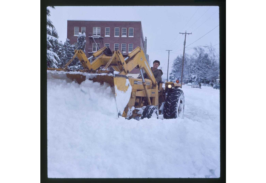 This front loader was clearing snow on Monroe Street in 1969. P003:1711