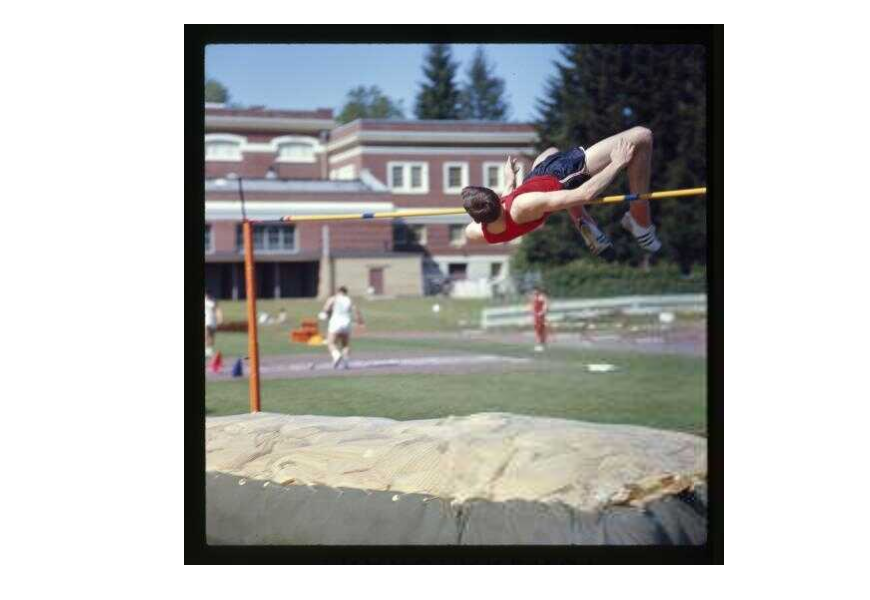 "Dick Fosbury attended OSU from 1965-1969 and is remembered today as the inventor of the ""Fosbury Flop"" high jump technique. He won two national championships and an Olympic gold medal while revolutionizing the sport with his innovative approach to jumping higher. P003:2707"