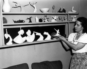 "An instructor of modern and creative dance from 1927-1972, Betty Lynd Thompson was inspired to replicate modern dance moves in clay, a form of art she called ""danceramics."" A 1948 exhibit at the Seattle Art Museum featured some of her figurines. Harriet's Photograph Collection."