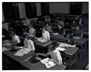 Students working in the Secretarial Science lab, 1951