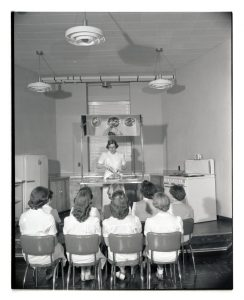 Meal preparation demonstration for OSC Home Economics students, 1954