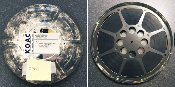 Rusty metal film can (Fig. 1); Film stored on a metal reel (Fig. 2).