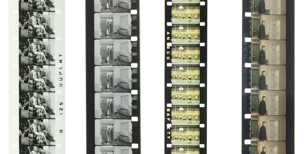 Positive and reversal films: B/W positive on Dupont film stock; B/W duplicate on reversal film stock (note the perforations from previous film generations printed on the edges); Ansco color reversal; Kodachrome color reversal.