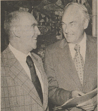 "Hollis Dole, right, with Eldon GIlbert (""Oregon Stater,"" December 1975)"