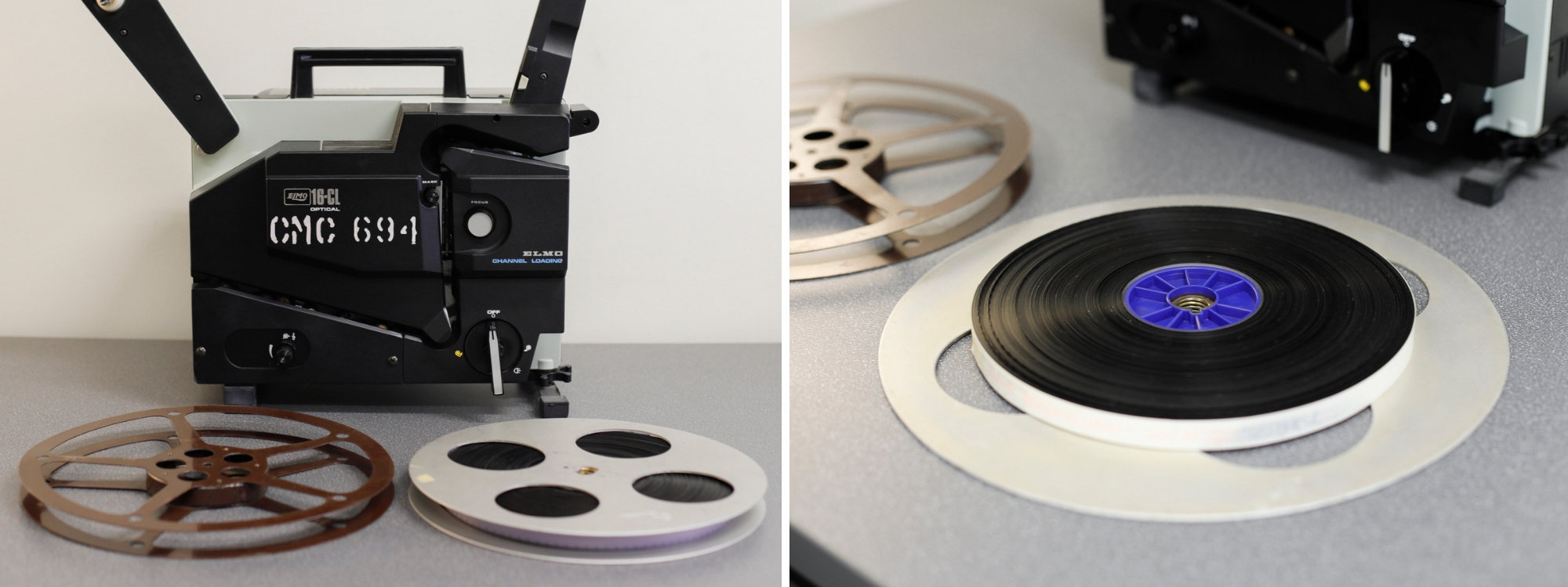 A film originally stored on a projection reel, transferred to a core.