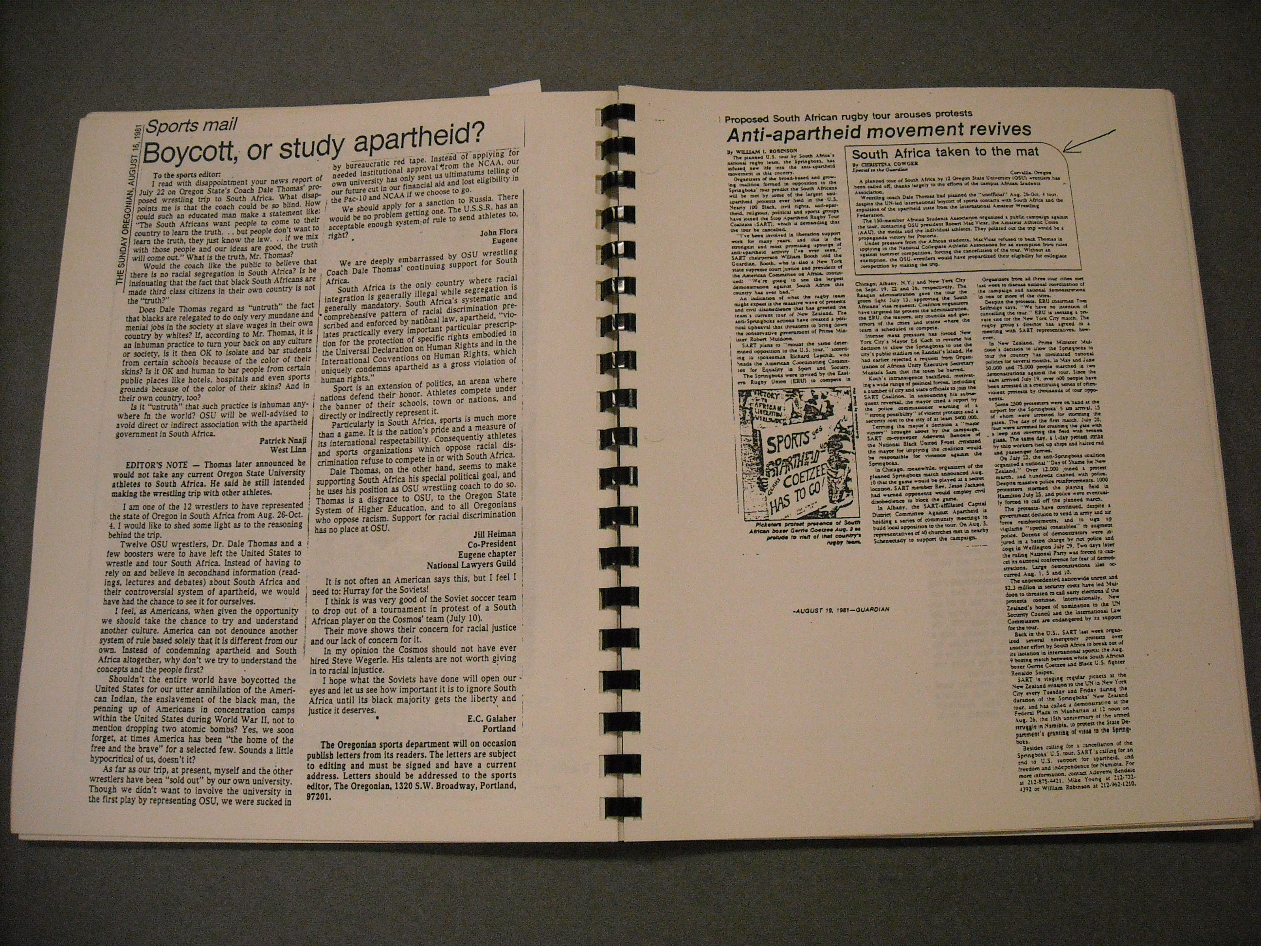 How to scrapbook newspaper clippings - Two Pages From The Oregon Anti Apartheid Scrapbook