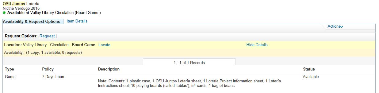 OSU Juntos Lotería catalog record details