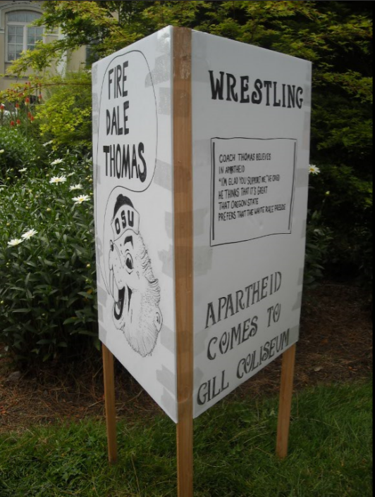 "A student created replica of a protest sign as part of the story ""Wrestling with Apartheid"""