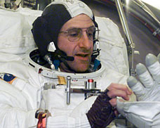 Pettit in his spacesuit