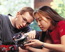 OSU students with robot they built