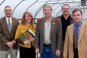 Dean Cyril Clarke (far left) met with Representative Kurt Schrader (center) in Salem
